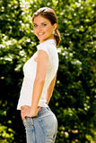 Portrait of lovely young woman. In summer park Royalty Free Stock Photos