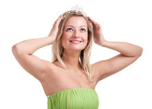Portrait of lovely young woman with diadem Royalty Free Stock Photos