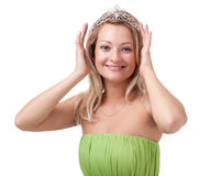 Portrait of lovely young woman with diadem Stock Images