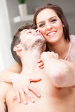 Portrait of lovers with her watching in camera Royalty Free Stock Photography