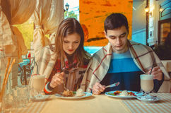 Portrait of loving couple having dinner in a restaurant Royalty Free Stock Photos
