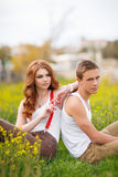 Portrait of a loving couple summer outdoors. Royalty Free Stock Images