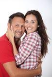 Portrait of loving couple on white background Royalty Free Stock Photos
