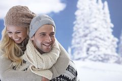 Portrait of loving couple at wintertime Stock Photo