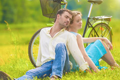 Portrait of Loving and cute Caucasian Couple Relaxing Together O Stock Images