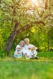 Portrait of loving elderly couple having a picnic stock images