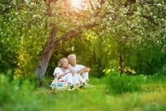 Portrait of loving elderly couple having a picnic royalty free stock image