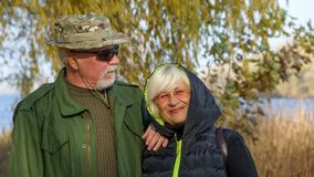 Portrait of a loving elderly couple Stock Images