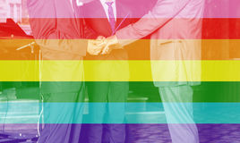 Portrait of a loving gay male couple on their wedding day. Royalty Free Stock Photo