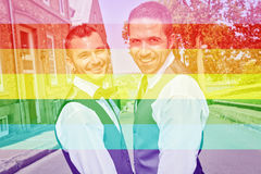 Portrait of a loving gay male couple on their wedding day. Stock Image