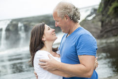 Portrait of loving mature couple relaxing outside Royalty Free Stock Image
