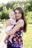 Portrait of loving mother with child daughter son stock photo