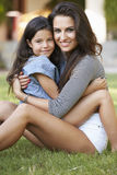Portrait Of Loving Mother And Daughter In Garden Stock Photos
