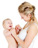 Portrait of loving mother and her child. On white background Stock Photography