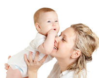 Portrait of loving mother and her child. On white background Royalty Free Stock Photography