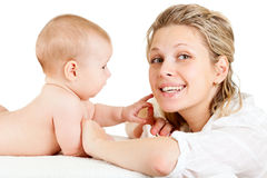 Portrait of loving mother and her child. On white background Stock Photo