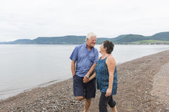 Portrait of loving senior couple at the beach Stock Images