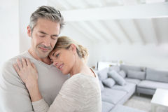Portrait of loving serene mature couple at home Royalty Free Stock Image