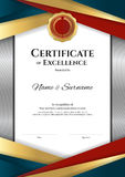 Portrait luxury certificate template with elegant border frame, stock illustration