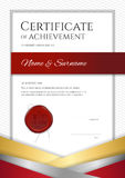 Portrait luxury certificate template with elegant golden border. Frame, Diploma design for graduation or completion Stock Images
