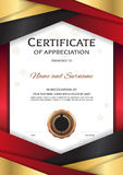 Portrait luxury certificate template with elegant golden red border frame, Diploma design for graduation or completion royalty free illustration