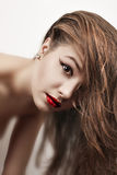 Portrait of luxury woman model with juicy red lips Stock Images