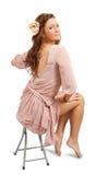 Portrait of luxury women in silk dress stock photos