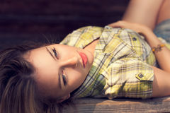 Portrait of Lying Beautiful Woman Stock Photos