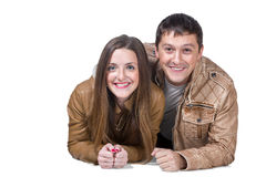 Portrait of lying couple man and woman Royalty Free Stock Image