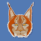 Portrait of a lynx on a blue background. Vector illustration. Royalty Free Stock Photography