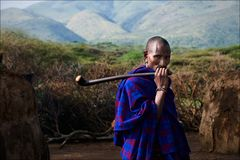 Portrait of maasai man. Royalty Free Stock Photos