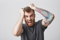 Portrait of mad beautiful bearded man with tattoed arm and stylish hairstyle in casual gray shirt tears hair with hands stock photos