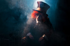 Portrait of a mad hatter. Among the smoke Royalty Free Stock Images