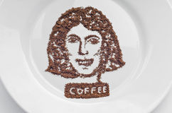 Portrait made of coffee Royalty Free Stock Photography