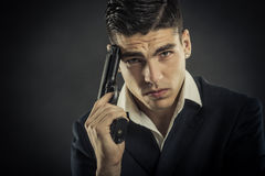 Portrait of mafia man Royalty Free Stock Images