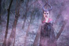Portrait of Magical Maleficent Woman with Horns Posing in Spring Empty Forest with Smoky Background royalty free stock photo