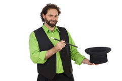 Portrait of a magician. On a over white background royalty free stock photo
