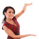 Portrait mains riantes d'une femme heureuse devant photos stock