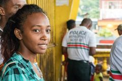 Portrait of a Malagasy woman looking away at the central market in Nosy Be, Madagascar royalty free stock photography
