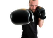 Portrait of male athlete boxer man looking aggressive with boxin Royalty Free Stock Image