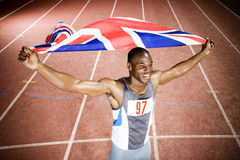 Portrait of a male athlete with UK flag Royalty Free Stock Photos