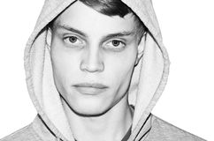 Portrait male - With hood shirt. Black and white portrait of male - Isolated on white Stock Photo