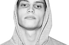 Portrait male - With hood shirt. Black and white portrait of male - Isolated on white Royalty Free Stock Image