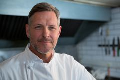 Male chef standing in commercial kitchen. Portrait of male chef standing in commercial kitchen stock images