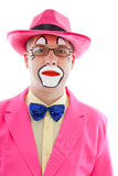 Portrait of male clown in pink. Over white background Stock Images