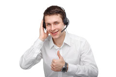 Portrait of male customer service representative or call center. Closeup portrait of male customer service representative or call centre worker or operator or Royalty Free Stock Photos