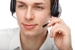 Portrait of male customer service representative or call center. Closeup portrait of male customer service representative or call center worker or operator or Stock Image
