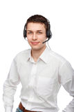 Portrait of male customer service representative or call center. Closeup portrait of male customer service representative or call center worker or operator or Royalty Free Stock Photos