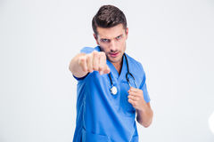 Portrait of a male doctor fighting Stock Image