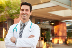 Portrait Of Male Doctor Standing Outside Hospital Royalty Free Stock Photography